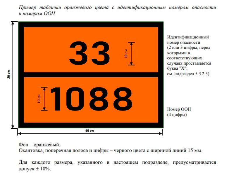 Табличка оранжевого цвета ДОПОГ